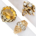 Estate Jewelry:Rings, Citrine, Diamond, Gold Rings The lot includes ...