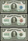 Canadian Currency, DC-25h $1 1923;. DC-25i $1 1923;. DC-25o $1 1923. ... (Total: 3 notes)