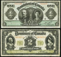 Canadian Currency, DC-18d $1 1911;. DC-22a-i $2 1914. ... (Total: 2 notes)