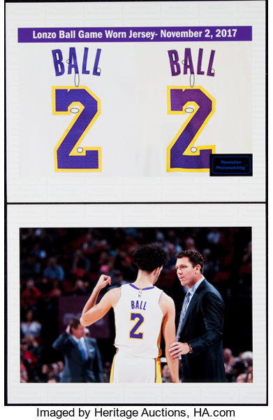 ec279bd38 2017-18 Lonzo Ball Game Worn Los Angeles Lakers Rookie Jersey