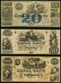 Obsoletes By State:Louisiana, New Orleans, LA- New Orleans Canal & Banking Company $20; $50; $100 18__ Remainders. ... (Total: 3 notes)
