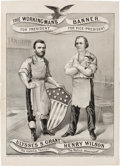 Political:Posters & Broadsides (pre-1896), Grant & Wilson: Very Rare 1872 Currier & Ives Grand National Banner. ...