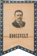 Political:Textile Display (1896-present), Theodore Roosevelt: Swallow-Tail Portrait Banner....