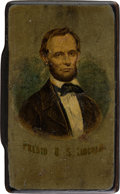 Political:3D & Other Display (pre-1896), Abraham Lincoln: Very Rare Papier-Mâché Snuff Box Featuring His Bearded Portrait. ...
