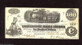 Confederate Notes:1862 Issues, T40 $100 1862. This diffused steam note carries multiple rubberstampings on back and was wet at one time leading to some mi...