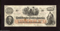 """Confederate Notes:1862 Issues, T41 $100 1862. This lightly circulated Scroll One $100 is printedon """"CSA"""" block watermarked paper. Back of note has Interes..."""