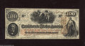 Confederate Notes:1862 Issues, T41 $100 1862. A thin gutter fold is found near the right-hand edgeof this $100 that has a piece of tape in a back upper co...