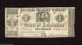 """Obsoletes By State:Arkansas, Little Rock, AR- Arkansas Treasury Warrant $1 Apr. 1, 1863 This is the variety without printing on the back and with """"ON WA..."""