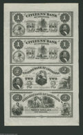 Obsoletes By State:Louisiana, New Orleans, LA- Citizens' Bank of Louisiana $1-$1-$2-$3 18__ Uncut Sheet A fold runs laterally through the first note of t...