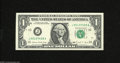 Error Notes:Blank Reverse (<100%), Fr. 1914-J $1 1988 Federal Reserve Note. Crisp Uncirculated. Thispartial blank back is missing almost 75% of its reverse d...