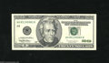 Error Notes:Blank Reverse (<100%), Fr. 2084-H $20 1996 Federal Reserve Note. Extremely Fine-AboutUncirculated. This note which has a couple folds and light h...
