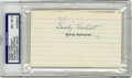 Autographs:Index Cards, Gabby Hartnett Signed Index Card, PSA/DNA NM-MT 8. Widely considered to have been the greatest catcher in the National Leag...