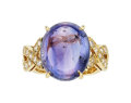 Estate Jewelry:Rings, Ceylon Violet Sapphire, Diamond, Gold Ring, Carvin French. ...