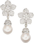 Estate Jewelry:Earrings, Diamond, South Sea Cultured Pearl, White Gold Earrings, Giovane....