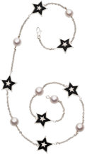Estate Jewelry:Necklaces, Diamond, Black Onyx, Cultured Pearl, White Gold Necklace, Chanel,French. ...
