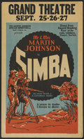 "Movie Posters:Documentary, Simba: The King of the Beasts (Martin Johnson African Expedition Corp., 1928). Window Card (14"" X 22""). Documentary...."