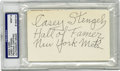 Autographs:Index Cards, Casey Stengel Signed Index Card PSA/DNA Mint 9. Remembered primarily as a manager of New York teams, Casey's big league car...