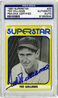 Autographs:Sports Cards, Ted Williams Signed 1980 SuperStar Card, PSA Authentic. The 1983SuperStar card depicts a young Ted Williams. He has added ...