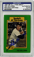 Autographs:Sports Cards, Ted Williams Signed 1987 Topps All-time Greats Card, PSA Authentic. The 1987 Topps All-time Greats card has the good fortun...