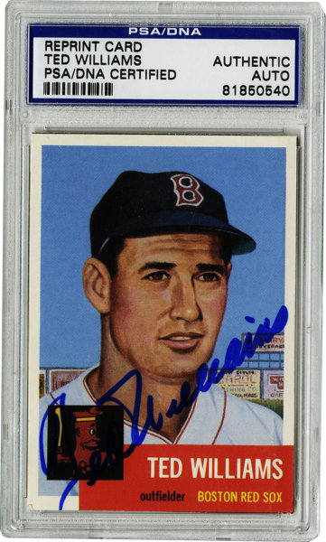 Ted Williams Signed 1953 Reprint Card Psa Authentic The