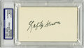 Autographs:Index Cards, Lefty Grove Signed Index Cards, PSA Authentic Lot of 2. Elected to the Hall of Fame in 1947, Lefty Grove led the American L...