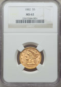 1882 $5 MS62 NGC. NGC Census: (2857/2070). PCGS Population: (1798/1089). MS62. Mintage 2,514,568. ...(PCGS# 8358)