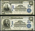 National Bank Notes:Wisconsin, Wisconsin Rapids, WI - $10; $20 1902 Plain Back Fr. 628; 654 The First NB Ch. # (M)1998. ... (Total: 2 notes)