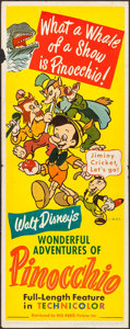 "Movie Posters:Animation, Pinocchio (RKO, R-1945). Insert (14"" X 36""). Animation.. ..."