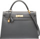 """Hermes 32cm Ardoise Calf Box Leather Sellier Kelly Bag with Gold Hardware C Square, 1999 Condition: 2 12.5"""" Width x..."""