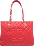 """Luxury Accessories:Bags, Chanel Red Quilted Caviar Leather Grand Shopping Tote with Silver Hardware. Condition: 3. 13"""" Width x 10"""" Height x 5"""" ..."""