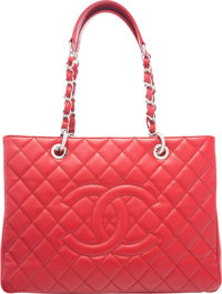 "Chanel Red Quilted Caviar Leather Grand Shopping Tote with Silver Hardware Condition: 3 13"" Width"