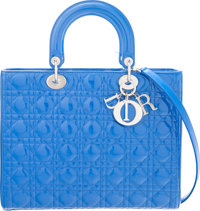"""Christian Dior Blue Quilted Cannage Patent Leather Large Lady Dior Tote Bag Condition: 3 12"""" Width x 9.5"""" He..."""
