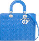 "Christian Dior Blue Quilted Cannage Patent Leather Large Lady Dior Tote Bag Condition: 3 12"" Width x 9.5"" Heig..."