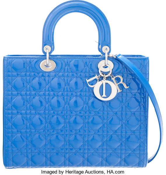 9fde6a47b620 Christian Dior Blue Quilted Cannage Patent Leather Large Lady