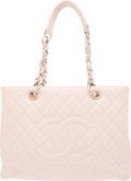 """Luxury Accessories:Bags, Chanel Light Pink Caviar Leather GST Grand Shopping Tote Bag with Silver Hardware. Condition: 2. 13"""" Width x 10"""" Heigh..."""