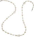 """Luxury Accessories:Accessories, Chanel Faux Pearl and Crystals Single Strand Necklace. Condition: 1. 42"""" Length End to End. ..."""