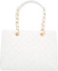 """Luxury Accessories:Bags, Chanel White Caviar Leather GST Grand Shopping Tote Bag with Gold Hardware. Condition: 2. 13"""" Width x 10"""" Height x 5"""" Dept..."""