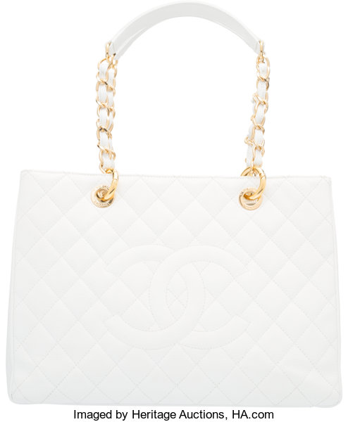 ec1eb1fcdc20 Chanel White Caviar Leather GST Grand Shopping Tote Bag with