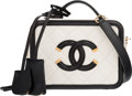 """Luxury Accessories:Bags, Chanel White & Black Caviar Leather Small CC Filigree Vanity Case Bag with Gold Hardware. Condition: 1. 6.5"""" Width x 4.75""""..."""