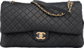 """Luxury Accessories:Bags, Chanel Black Quilted Calfskin Leather Airlines Collection XXL Flap Bag with Gold Hardware. Condition: 1. 17"""" Width x 11"""" H..."""