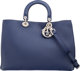 "Christian Dior Navy Blue & Yellow Calfskin Leather Large Diorissimo Tote Condition: 1 15"" Width x 10.25&quo..."