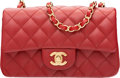 "Luxury Accessories:Bags, Chanel Red Quilted Lambskin Leather Rectangular Mini Classic Flap Bag with Gold Hardware. Condition: 1. 8"" Width x 5"" ..."