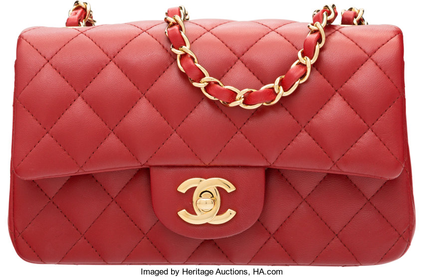 87a1cf9a518a Chanel Red Quilted Lambskin Leather Rectangular Mini Classic