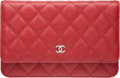 """Luxury Accessories:Bags, Chanel Red Quilted Caviar Leather Wallet on Chain Bag with Silver Hardware. Condition: 1. 7.5"""" Width x 5"""" Height x 1"""" ..."""