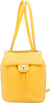 """Chanel Matte Yellow Python Small Urban Spirit Backpack Condition: 2 8"""" Width x 9.5"""" Height x 4.5"""""""