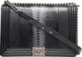 """Luxury Accessories:Bags, Chanel Shiny Black Python & Patent Leather Large Boy Bag with Ruthenium Hardware. Condition: 2. 12"""" Width x 8.25"""" Heig..."""