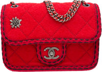 "Chanel Red Quilted Wool Flap Bag with Ruthenium Hardware Condition: 2 8.5"" Width x 6"" Height x 3"""
