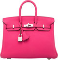 "Luxury Accessories:Bags, Hermes 25cm Fuchsia Togo Leather Birkin Bag with Palladium Hardware. P Square, 2012. Condition: 2. 10"" Width x 8"" ..."