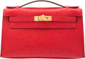 """Luxury Accessories:Bags, Hermes Rouge Vif Ostrich Kelly Pochette Bag with Gold Hardware.A, 2017. Condition: 1. 8.5"""" Width x 5"""" Height x 2.5""""Depth..."""