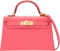 """Hermes 20cm Rose Lipstick Chevre Mysore Mini Kelly Bag with Gold Hardware A, 2017 Condition: 1 8"""" Width x"""